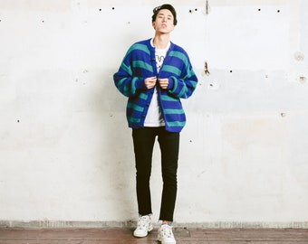 Vintage Knit Cardigan . Men's 80s Grunge Sweater Block Stripe Sweater Warm Cardigan Gift For Man Oversized Cardigan. size Extra Large