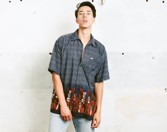 Mens Aztec Shirt . Vintage Ethnic Top Mayan Inca Totem Printed 90s Shirt Tribal Pattern Men Grey Shirt Boyfriend Wear . size Large L