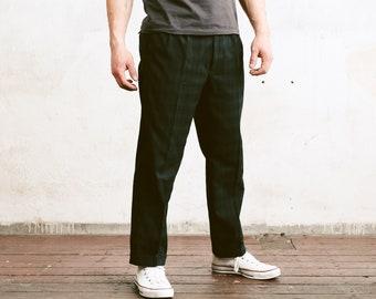 Vintage Men Plaid Pants . Green 80s Wide Fit Plaid Chino Pants Trousers Mens Oldschool Pants Nerd Trousers Dad Pants . size 52 Extra Large L