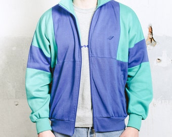 Mens Track Jacket . Vintage 80s 90s Mens Jacket Zip Up Sweatshirt Rave Party Jacket Sportswear Athleisure 90s Sports Jacket . size Large