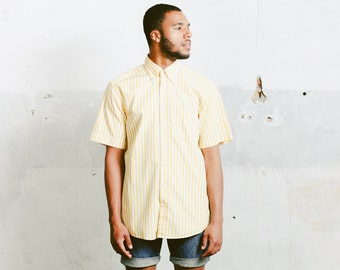 Mens Vacation Shirt . Vintage Striped Yellow Shirt Casual Cotton Shirt Cruise Outfit Minimalist Top Normcore 90s Summer Wear . size Large L