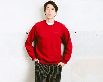 Adidas Sweatshirt . Vintage Adidas Logo Sweater Men's Sweater Activewear Rave Party Top Boyfriend Xmas Gift Red Sweatshirt . size Small S