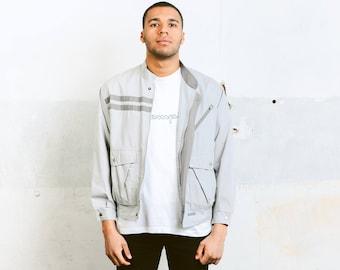 Grey Bomber Jacket . Vintage 90s Mens Jacket Unisex Clothing Spring Jacket 90s Minimalist Jacket Windbreaker Autumn Outerwear . size Medium