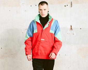 Ski Smock Jacket . 90s Ski Jacket Skiing Anorak Jacket Winter Sports Jacket Snowboard Jacket Colorblock Ski Parka . size Extra Large XL