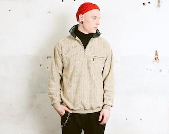 Brown Fleece Sweater . Vintage Unisex Sweater Men's Beige Pullover 90s Sweatshirt Grunge Sweater Boyfriend Gift Hipster Outfit . size Medium