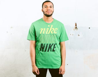 Nike Spellout T-Shirt . 90s Mens Green T-Shirt Vintage Nike Sports Top Nike Logo Tee Shirt 1990s Activewear Summer Tee Shirt . size Large L