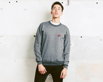 Grey NIKE Sweatshirt . Vintage 90s Sports Sweater Athleisure Wear Mens Grey Sweatshirt Everyday Sweater Streetwear . size Medium M