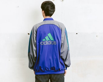 Men ADIDAS Bomber Track Jacket . Vintage Windbreaker Men's Unisex Track Jacket Sports Jacket Outerwear 90s Activewear . size Extra Large XL