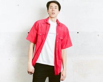 Red Men Cord Western Shirt . Vintage Corduroy Shirt Vintage 90s Snap Button Men's Shirt Boyfriend Hipster Gift for Men . size Medium M
