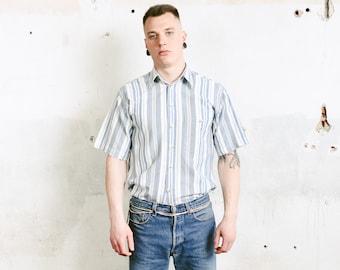 Striped Summer Shirt . Vintage Blue Mens Short Sleeve Shirt 90s Casual Shirt Vacation Shirt Boyfriend Gift . size Small S