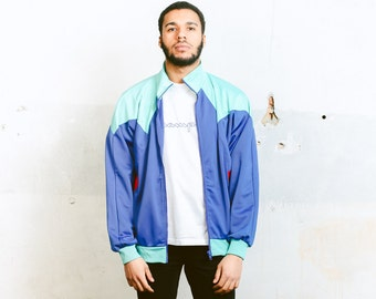 Mens Track Jacket . Vintage 90s Athletic Jacket Sportswear Bold 90s Jacket Zip Up Blue Tracksuit Bomber Jacket Boyfriend Wear . size Large L