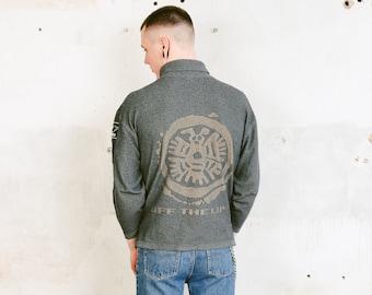 Grey Mockneck Top . 90s Surfer Top Men's Vintage Minimalist Sweater High Neck Sweater Athleisure Casual Top Short Sweatshirt . size Medium