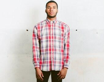 Mens Lumberjack Shirt . Vintage 80s Thick Shirt Flannel Buffalo Plaid Shirt Soft Grunge Shirt Long Sleeve White Red Shirt . size Medium