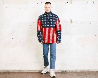 Vintage USA Flag Jumper . 90s Bold Print Soft Fleece Sweater Quarter Zip Oversized Comfy Sweater Boyfriend Gift . size XL Extra Large