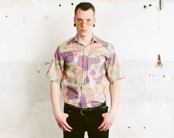 Vintage Fjallraven Button Down Shirt . 90s Men's Floral Print Shirt Patterned 90s Shirt Vacation Shirt Boyfriend Gift . size Small