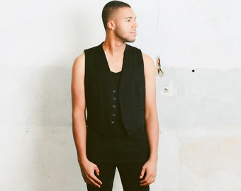 Men's 1950s Black Vest . Vintage Mid Century Waistcoat Formal Wear Groom Clothing Wool Steampunk Vest Wedding Attire Suit Top . size Medium