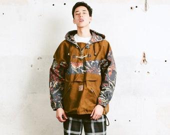 90s Men Anorak Jacket . Vintage Aztec Print Hooded Ski Jacket Windbreaker Boyfriend Wear 90s Clothing Winter Sportswear . sz Extra Large XL