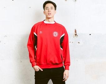 Men Red Sports Sweater . Men's 90s Sweatshirt Golf Sweater Red Sweater Athelisure Activewear Gift For Man Windbreaker Sweater. size Large L