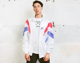 Nike Sports Jacket . Vintage Blue 90s Jacket Zip Up Track Jacket White Tracksuit Top Activewear Rave Party Top 90s Clothing . size Large L