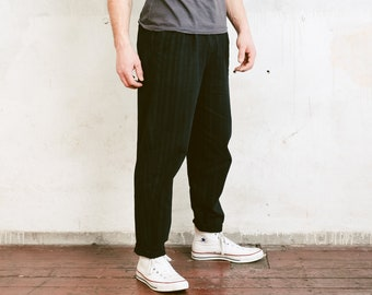Vintage Men Pants . 80s Vintage Black Trousers Chino Pants Striped Pants Straight Wide Leg Dad Pants Pleated Waist Pants . size Medium M