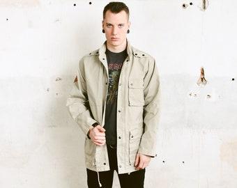 Grey Men Parka Coat . Vintage Jacket Unisex 90s Outerwear Men Clothing Spring Coat Grey Parka  Boyfriend Gift . size Medium M