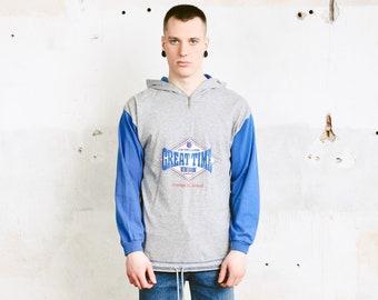 Vintage Athletic Sweater . Grey and Blue Hooded Sweatshirt Men Hoodie Sports Top Everyday Clothing 1990s Activewear . size Medium M
