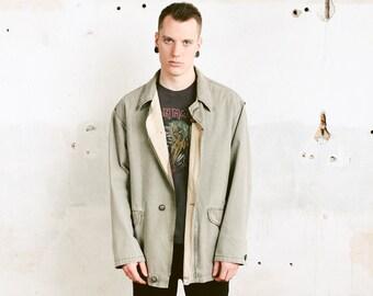 Grey Men Spring Coat . Vintage Jacket Unisex 90s Outerwear Men Clothing Spring Jacket Grey Parka  Boyfriend Gift . size Extra Large XL