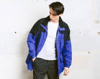 Mens Ski Jacket . Men 90s Parka Jacket Winter Jacket Zip Up Blue Black Winter Coat Boyfriend Wear 90s Clothing Winter Parka . size M Medium