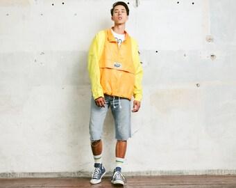 Men Rain Jacket . Vintage Bold Jacket 90s Festival Jacket Windbreaker Mens Rave Jacket Lightweight Jacket Unisex Jacket . size Extra Large