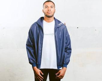 Men's Blue 90s Jacket . Vintage Mens Rave Jacket Windbreaker Zip Up Track Jacket Spring Outerwear 90s Hipster Jacket Menswear . size Large L