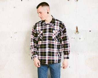 Plaid Fleece Zip Up Shirt . Vintage 90s Soft Fleece Shirt Men Overshirt Cozy Comfy Thick Shirt Boyfriend Gift Men Jacket . size  Large L