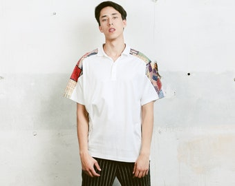White Polo Shirt . Vintage 90s Men's White Shirt Oversized Oldschool Golf Tennis Everyday Shirt Hipster Outfit . size Medium M