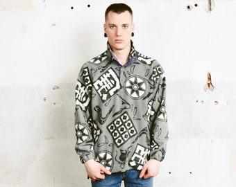 Monochrome Printed Fleece Sweater . 80s Soft Fleece Jumper Men Grey Patterned Sweater Button Collar Comfy Sweater . size Medium M