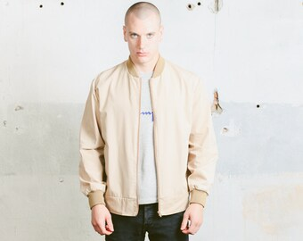 Mens 90s Bomber Jacket . Vintage Beige Spring Jacket Unisex Lightweight Jacket Zip Up Windbreaker Outerwear Boyfriend Gift . size XL