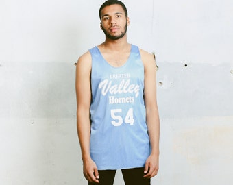 Mens Blue Workout Shirt . Vintage 90s Sleeveless Top Jersey Basketball Shirt Hip Hop Tank Top Streetwear Men Summer Clothing . size Large