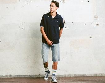 Kappa Polo Shirt . Vintage 90s Navy Blue Cotton T-Shirt Minimalist Men Classic Top Retro Tee Shirt Activewear Menswear . size Large