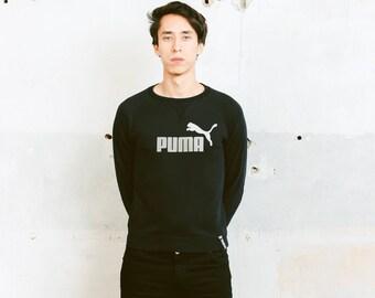 Men's Puma Sweatshirt . Vintage Mens Black Jumper Unisex Fitted Sweatshirt 90s Clothing Workout Sweatshirt . size XS Extra Small