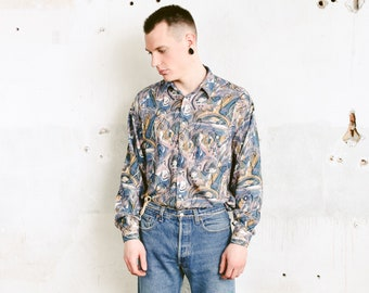 Vintage Brush Stroke Print Shirt . 90s Men Bold Abstract Print Shirt Long Sleeve Button Down Shirt Pattered 90s Shirt . size Large L