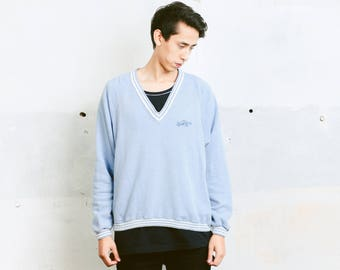 Vintage Levis Oversized Sweater . 90s V-Neck Blue Sweater Casual Top Minimalist Mens 90s Sweatshirt Men Gift For Him . size XL Extra Large