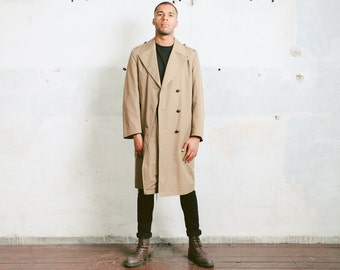 Men Mac Trench Coat . 1970s Vintage Duster Coat Mackintosh Coat Long Coat Unisex Raincoat Mens Lined Coat Beige Autumn Coat . size Large L