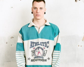 Vintage Men 90s Sweatshirt . Sports Sweater Retro Style Sweatshirt Athleisure Everyday Sweater Streetwear 90s Clothing . size Large L