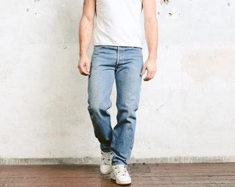 Levis 501 Jeans . Vintage High Waist Dark Blue Mens Denim Pants  Dark Blue 90s Jeans Button Fly Distressed Straight Leg Jeans . size W33 L32