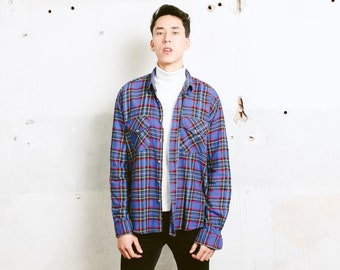 Men S Plaid Flannel Shirt Vintage 90s Clothing Etsy