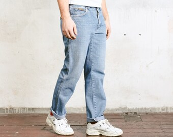 Light Wash 90s Wrangler Jeans . Blue Denim Jeans Vintage Boyfriend Jeans Men Unisex Jeans 90 Clothing Straight Leg Jeans . W34 L32