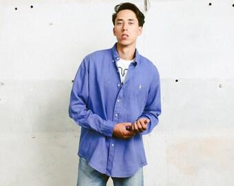 Ralph Lauren Linen Shirt . Mens 90s Vintage Blue Shirt Button Down Oxford Shirt Hipster Outfit Boyfriend Gift . size Large L