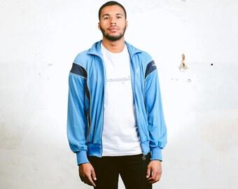 Men's Blue Tracksuit Top . Vintage 90s Sports Jacket Unisex Normcore Rave Jacket Mens 90s Clothing Hip Hop Style Sportswear . size Large L