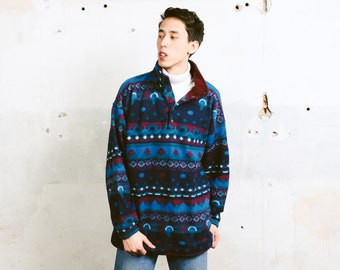 Aztec Print Fleece Jumper . Bold Soft Fleece Sweater Baggy Sweater Aztec Patterned Men Sweater Cozy Comfy Sweater . size Extra Large