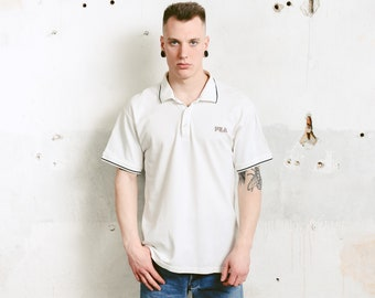 White Fila Polo Shirt . Vintage Men Activewear Men's Golf Shirt Unisex Retro Cotton T-Shirt 90s Clothing Everyday Wear . size Medium
