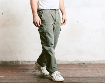 Vintage 90s Military Pants . Men Cargo Pants Work Trousers Khaki Pants 90s Workwear Mens Work Pants Utility Pants . size Extra Large XL