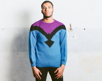 Geometric Print Knit Sweater . Vintage Mens Knitted Jumper Unisex Pullover 90s Retro Clothing Comfy Cozy Sweater Gift For Him . size Medium